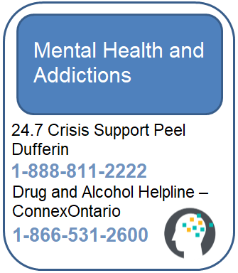 Mental Health and Addictions - Crisis Support Peel - 1-888-811-2222 and ConnexOntario Drug and Alcohol Helpline - 1-866-531-2600